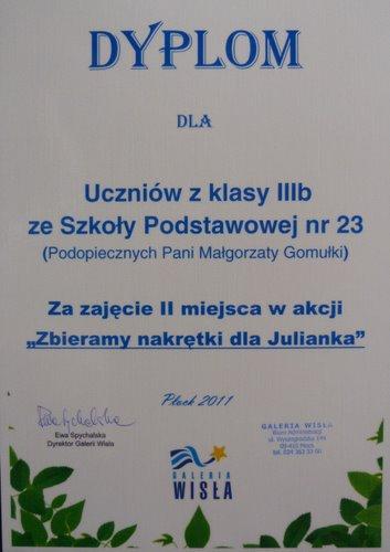 Fotografie z artykułu: Konkurs 'Zbieramy nakrętki dla Julianka' rozstrzygnięty!